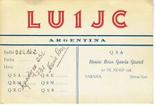Old QSL from LU1JC, Maria Rosa Garcia Girard, Parana, Argentina (+/- 1950)