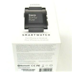 PEBBLE TWO FORTY FIVE SMARTWATCH NWT IPHONE & ANDROID BLACK 33MM SILICONE BAND