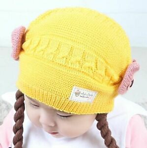 Baby Girl Scarf 2Pcs/Set False Braids Child Toddlers Knitted Flower Fashion Hats