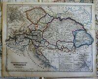Austria-Hungary Hapsburg Empire Vienna Trieste Bohemia 1850's engraved map
