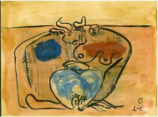 LE CORBUSIER - mixed media on original wood of 1960's
