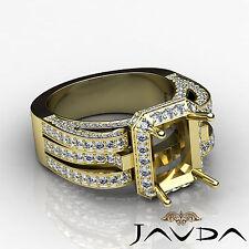 Diamond Engagement Pave Antique Ring 18k Yellow Gold Radiant Semi Mount 1.7Ct