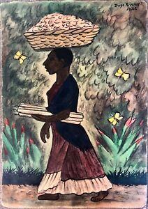 Diego Rivera, 'Tehuana con Velas y Canasta', 1936; Early Hand Colored Print, 60s