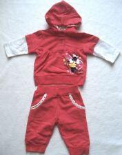 Babyset Mini Maus Mädchen Sweatshirt mit Kapuze Hose Gr. 56 - 3 Monate rot weiß