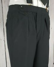 Vtg Black 1940s Button Fly Pleated Heavy Wool Trousers  W34 L28 GJ68