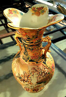 "Royal Satsuma Hand Painted Enameled 12"" Vase Handled Urn Gold Gilt Collectible"