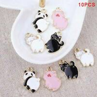 10Pcs Cute Enamel Alloy Pig Cat Panda Charms Pendants Findings DIY Jewelry Craft