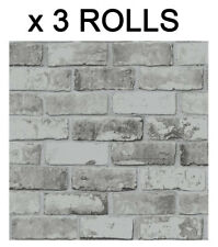 Grey Brick Effect Wallpaper Slate Wall Weathered Stone Realistic 3 Rolls Deal