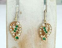 9 CT Gold Pearl & Green Crystals Drop Earrings - 3.5 Grams - Hallmarked