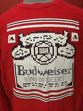 Vintage Budweiser Sweater 70s 80s Retro Beer Knit Red King Of Beers XL Sport Tek