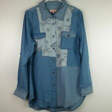 Red Jeans NYC Womens Denim Shirt XL Blue Pockets Long Rollup Sleeves