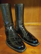 Belvedere Studio Men Genuine Eel Skin Brown Western Fashion Zip Boots Size 12 D