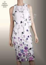 IVANKA TRUMP Women Dress Size 10 WHITE FLORAL Sleeveless SHEER Knee Dressy LBCUS