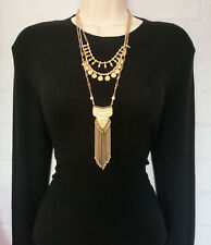 "Beautiful 26"" long 3 layered vintage gold tone & diamante chain pendant necklace"