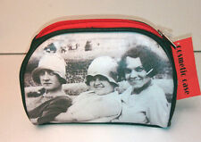 COSMETIC CASE Make up BAG Faux Leather RED Soul UK 1927 Vintage B&W Photo GIFT