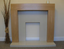 ELECTRIC OAK WOOD CREAM STONE SURROUND WALL FIRE FIREPLACE SUITE SET - LARGE 54""