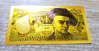 """★ LOT 50 BILLETS POLYMER  """" OR """" COULEURS DU 50 FRANCS QUENTIN DE LA TOUR ★ REF2"""
