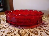 FOSTORIA RED COIN GLASS OVAL BOWL