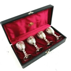 Corbell & Co Antique Silver Plate Vintage Wine Goblets Set of 4 02654