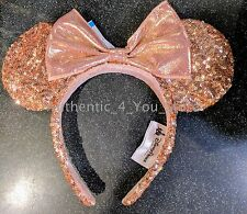 NEW Disney Parks Minnie Rose Gold Sequin Ear Headband Millennial Pink Champagne