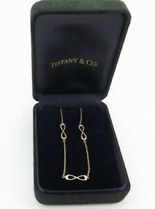.Auth Tiffany & Co 18K Rose Gold Endless Infinity Bracelet In Box