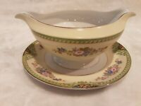 Meito china made in japan - Clarence - Gravy Boat - double spout with underplate