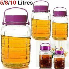5 8 10 Litre Large Glass Preserve Food Beverage Juice Airtight Container Jar