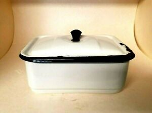 "Vintage Enamelware Rectangular Pan Lid w/ handle White w/ Black Trim  5.5""x8"""