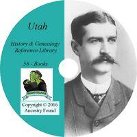 58 old books History & Genealogy of UTAH families ancestry Salt Lake UT CD DVD