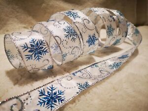 SNOWFLAKES Icy Cool Blue & Silver FROZEN Christmas - Luxury Wire Edged Ribbon