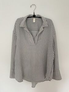 H&M Womens's Black and White Striped Collared Long Sleeve Shirt