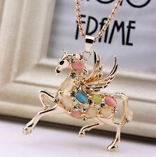 Fashion Pegasus Sweater chain mosaic Crystal Color Opal charm Pendant Necklace