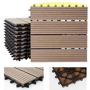 1qm WPC Holz-Fliesen Sarthe, Bodenfliesen Balkon Terrasse, teak linear