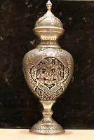 antique luxury silver plated vas bowl handmade persian Isfahan qalam zani qajar