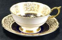 Paragon Fine Bone China Appointment Cobalt Blue Pale Peach Gold Tea Cup & Saucer