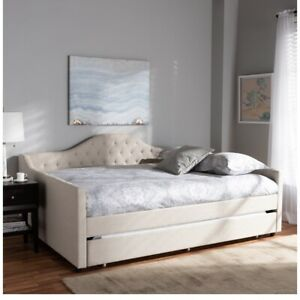 Baxton Studio Eliza Tufted Full Daybed with Trundle in Light Beige Perfect Gift