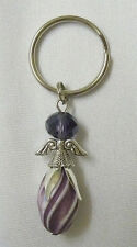 Great Handmade Bead Key Ring Fob Charm Lovely Angel Design Purple Mix Great Gift