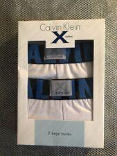 Lot 2 Boxers Enfant CALVIN KLEIN ,Garcon 8/10ans, Blanc, 95%coton+5%elasthane