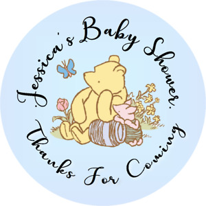 WINNIE THE POOH BABY SHOWER CUSTOM ROUND LABELS PARTY STICKERS FAVORS CLASSIC Xx