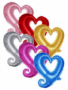 46cm/18in Love Hearts Foil Balloons in For Wedding Anniversary & Party UK SELLER