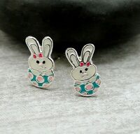 Easter Egg and Bunny Post Earrings - 925 Sterling Silver - Easter Rabbit Studs