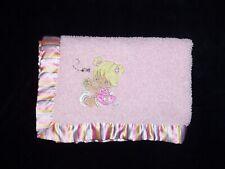FLAW Precious Moments Pink Baby Girl Applique Sherpa Blanket Stripe Satin Trim