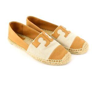 Tory Burch Veranda Tan Canvas Espadrilles Flats Shoes 6.5