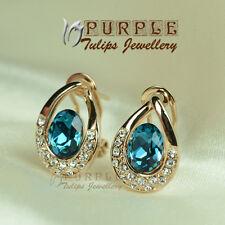 18K Rose Gold Plated Sapphire Waterdrop Stud Earrings MadeWith SWAROVSKI Crystal