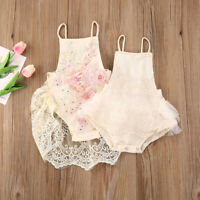 Newborn Baby Girl Outfit One Piece Lace  Backless Tutu Bodysuit Romper Clothes