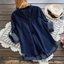 Women Long Sleeve Asymmetrical Stand Collar Blouse Shirt Buttons Denim Blue Tops