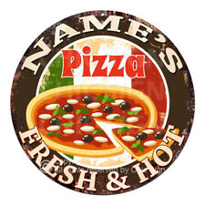 CP-0141 ANY NAME'S PIZZA Custom Personalized Chic Tin Sign Decor Gift idea