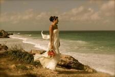 $360 BCBG Timona Off White Ivory Stripes Strapless Beach Wedding Silk Dress 2 XS