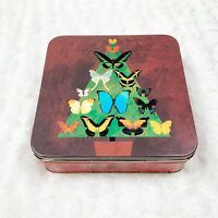 Neiman Marcus 1999 Christmas Tree Butterflies Tin Holiday Vintage Collectible
