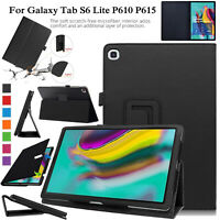 """For Galaxy Tab S6 Lite P610 P615 10.4"""" Case Leather Magnetic Stand Flip Cover"""